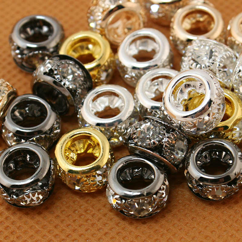 New Hot moda 7x10mm 10 pçs/lote Ouro, Prata metal Cristal Rhinestone Europeia Spacer Beads fit para DIY Pulseira Charme Europeu