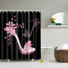 Pink High Heel Shoe Floral Shower Curtains Waterproof Bathroom Polyester 180x180cm Decoration With Hooks