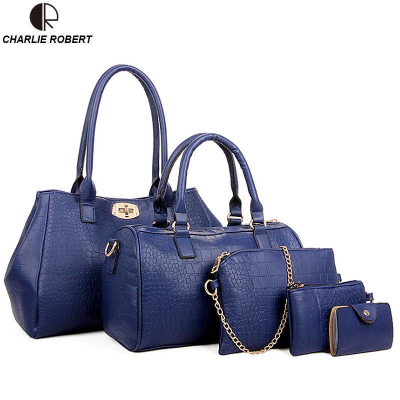 7f24ca0b27d6 2018 брендовый дизайн женская сумка Аллигатор принт кожаные сумочки  Повседневная дорожная сумка через плечо сумка кошелек