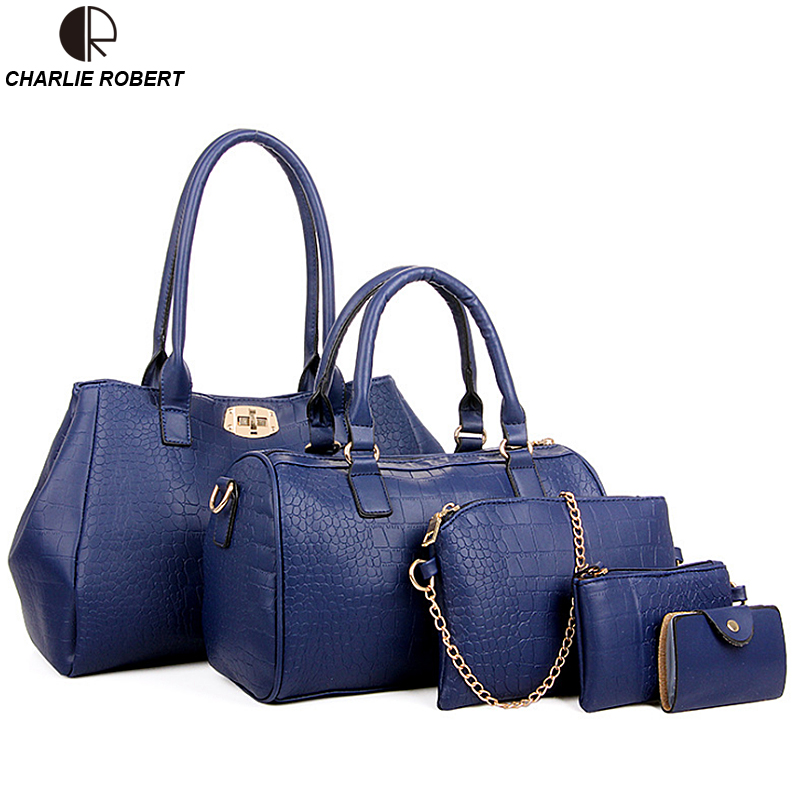 2016 Brand Designs Women Bag Alligator Print Leather Handbags Casual Travel Shoulder Bag Messenger Bag Purse Female Bags 5 Sets 3 sets 2017 women handbags leather handbag women messenger bags ladies brand designs bag bags handbag messenger bag purse 3 sets