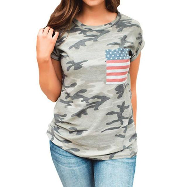 74d5298a2338c Women Fashion Short Sleeve O-Neck Shirt Casual Blouse Plus Size Tops USA  Flag Camouflage Shirts Loose Summer Blouse LJ9824X