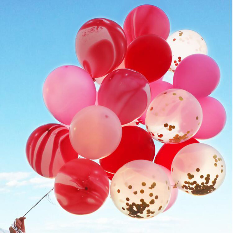 Confetti balloon 15pcs lot10inch thick agate latex ballon 2nd birthday party decorations wedding balloons combination supplies in Ballons Accessories from Home Garden