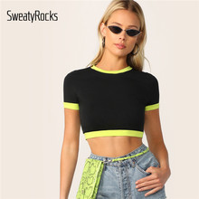 SweatyRocks Neon Ringer Colorblock Crop Top Women Short Sleeve Sexy Black Tshirts 2019 Summer Streetwear Top Female Tees(China)