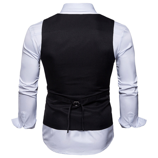 2018 Men's Suit Vest Fashion Solid Slim Fit Wedding Waistcoat Sleeveless Men Dress Vests Plus Size S-XXL