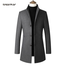 Men's Woolen Coat Solid Color Stand Collar Single-breasted Business Casual Windbreaker Jacket Wool Blend Fashion Men's XXXXL epaulet design single breasted wool blend jacket