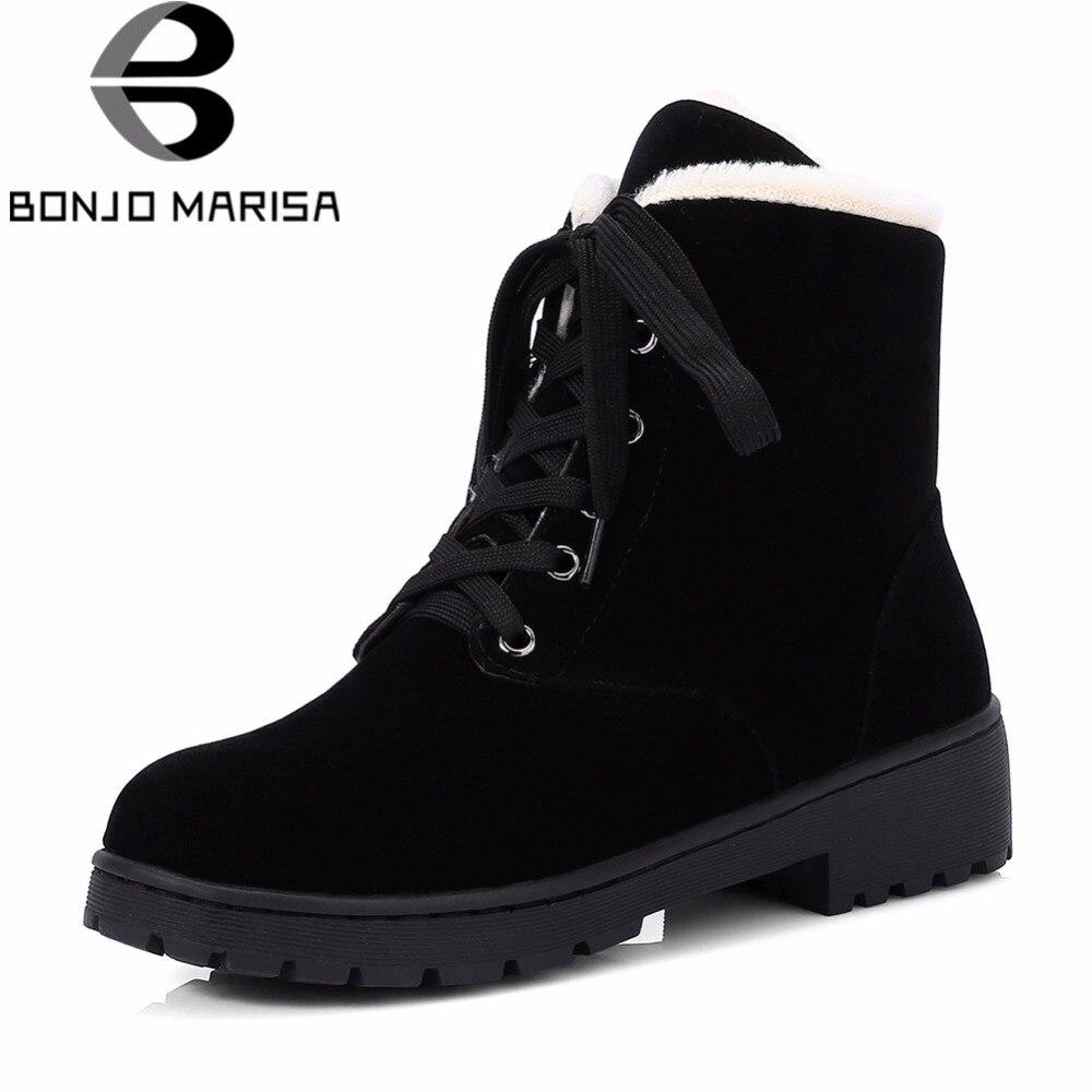 BONJOMARISA mujeres de tobillo plataforma de nieve botas de invierno 2018 nueva gran tamaño 33-43 De piel caliente casual Med talones Zapatos mujer
