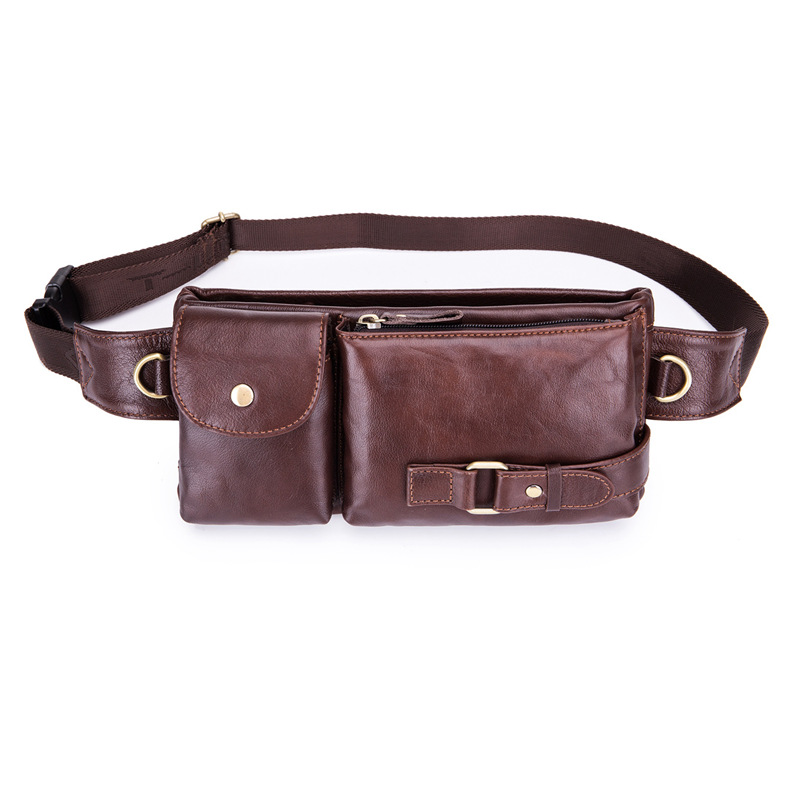 BULLCAPTAIN Genuine Leather Waist Packs Fanny Pack Belt Bag Phone Leather Pouch Bags Travel Waist Pack Male Functional Waist B