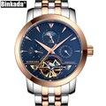 Skeleton Business Herren Automatische Uhr Top Luxus Marke Sport Tourbillon Mechanische Rose Gold Casual Selbst Wind BINKADA Uhren-in Mechanische Uhren aus Uhren bei