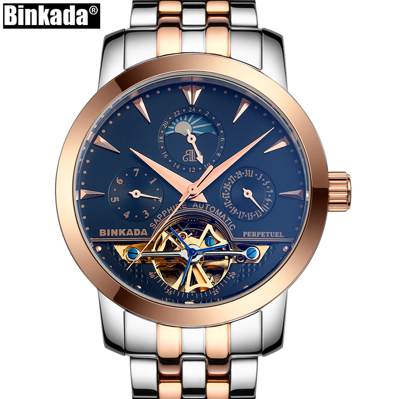 Skeleton Business Mens Automatic Watch Top Luxury Brand Sport Tourbillon Mechanical Rose Gold Casual Self Wind BINKADA Watches