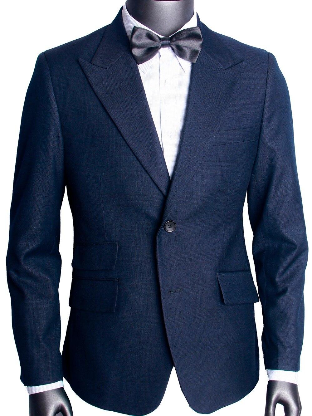 Bleu nuit subtil Glen Check hommes costume sur mesure Slim Fit Glen Plaid deux pièces costume décontracté pic revers avec poche Ticket-in Costumes from Vêtements homme    1