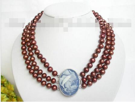 Livraison Gratuite>>> AAA 3row 11mm café d'eau douce perle collier coquillage