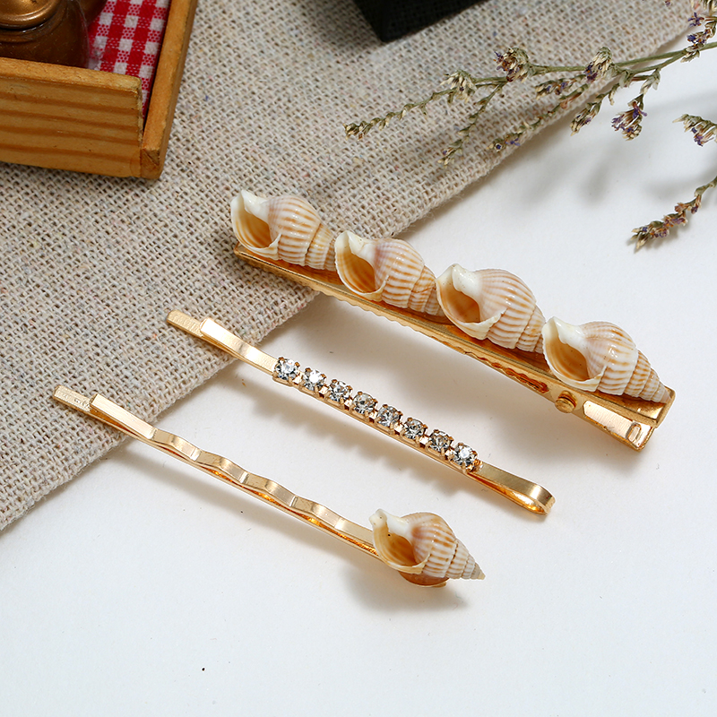 HOCOLE Bohemian Imitation Pearl Metal Hair Clips Women Fashion Star Conch Crystal Hairpins Headdress Hair Styling Accessories in Hair Jewelry from Jewelry Accessories