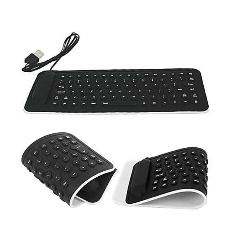 Портативный USB мини гибкий силиконовый ПК клавиатура складная для ноутбука черный MOSUNX Futural цифровой F20