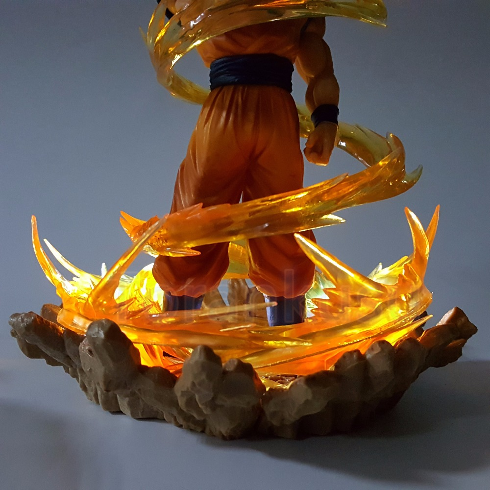Dragon Ball Z Action Figure Son Goku Power Up Led Light DIY Display Toy Anime Resolution Of Soldiers DIY118 In Figures