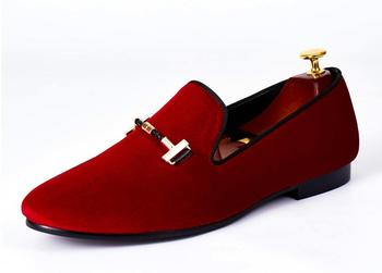 Italian Men Dress Shoes Buckle Strap Wedding Shoes Red Velvet Loafers Size 39-46