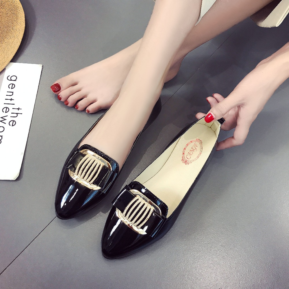 Spring Women Patent Leather Ballet Flats Casual Shoes Metal Button Round Toe Slip on Flats Female Loafers Ballerina Flats Women odetina 2017 new designer lace up ballerina flats fashion women spring pointed toe shoes ladies cross straps soft flats non slip