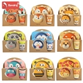 5 pc/lot de impresión de dibujos animados lindo cuadrado bebé juego de alimentación Color brillante placa gruesa vajilla de platos para los niños T0029