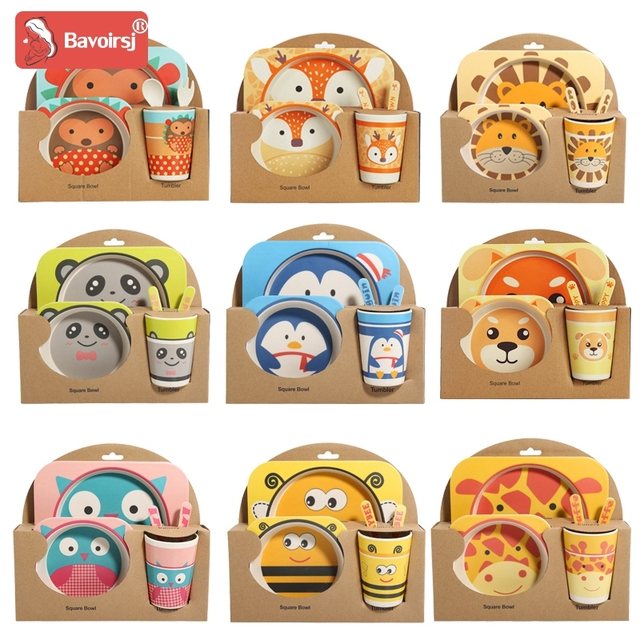 5pc/lot Printing Cartoon Cute Square Baby Feeding Set Bright Color Thick Plate Dinnerware Table Dishes for Kids T0029