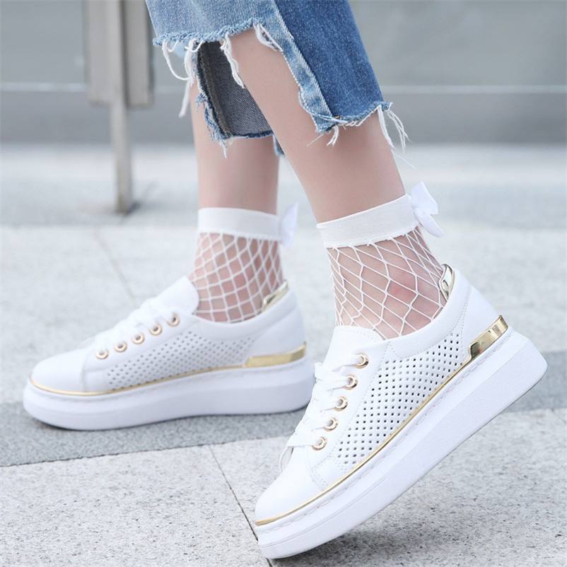 Solid Women Ruffle Fishnet Ankle High Socks Mesh Lace Fish Net Short Socks with Bow in Behind Two Color dropshipping 30AT3 06
