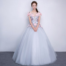 100%real carnival silver grey pink flower embroidery court medieval dress renaissance Gown iqueen Victoria Belle Ball/ball gown