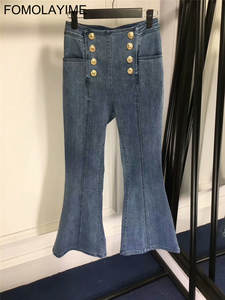 FOMOLAYIME Women 2018 High Flare Pants Jeans Female