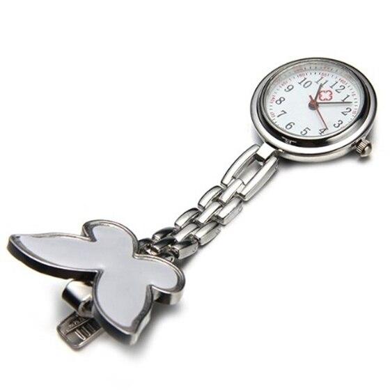 Nurses Clock Heart rate monitor pocket watch quartz butterfly motive white
