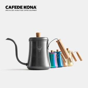 Image 5 - Bunte kaffee topf High kapazität drip kaffee wasserkocher edelstahl brauen kaffee/tee maker lange mund 1L holz griff