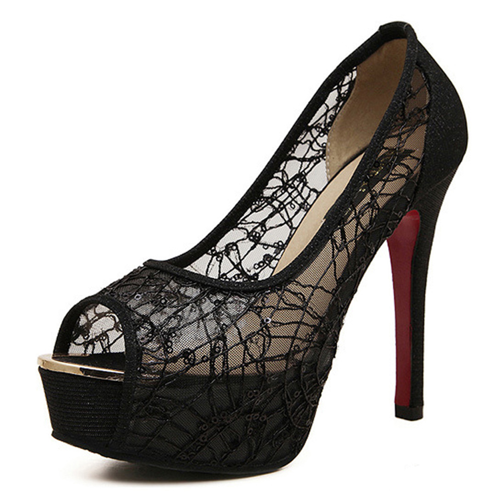 Popular Black Lace High Heel Shoes-Buy Cheap Black Lace High Heel ...