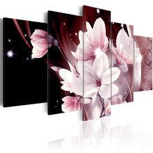 5 Pieces HD Canvas Painting Pink magnolia flower Abstract Landscape Decorative Paintings Modern Wall Art Framed PJMT- (13)