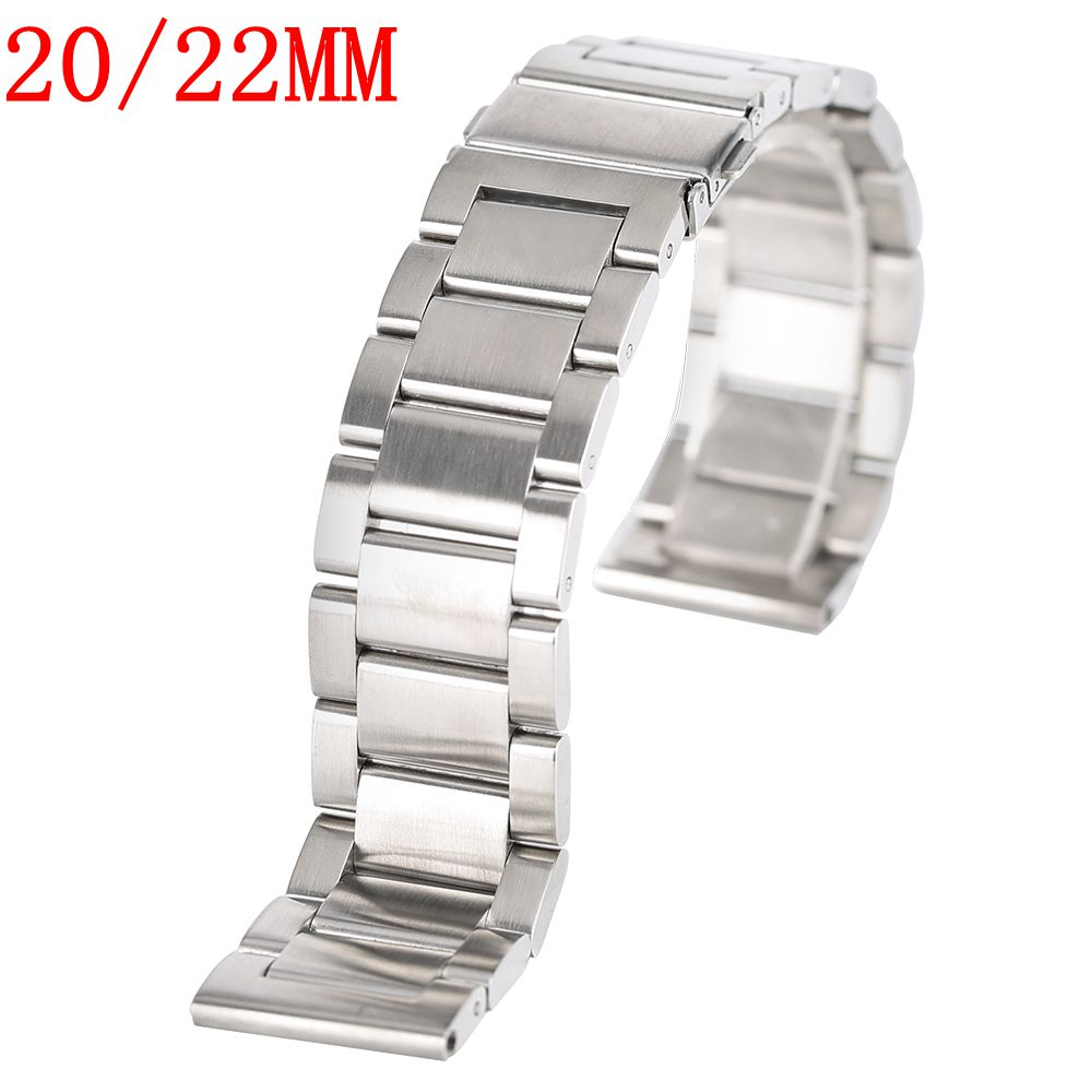 20/22MM Silver Bracelet Solid Stainless Steel Watch Band Strap High Quality Watchband 20mm 22mm Mens Womens + 2 Spring Bars watch band 22mm new mens black pure polished solid stainless steel watch bands strap bracelets free shipping