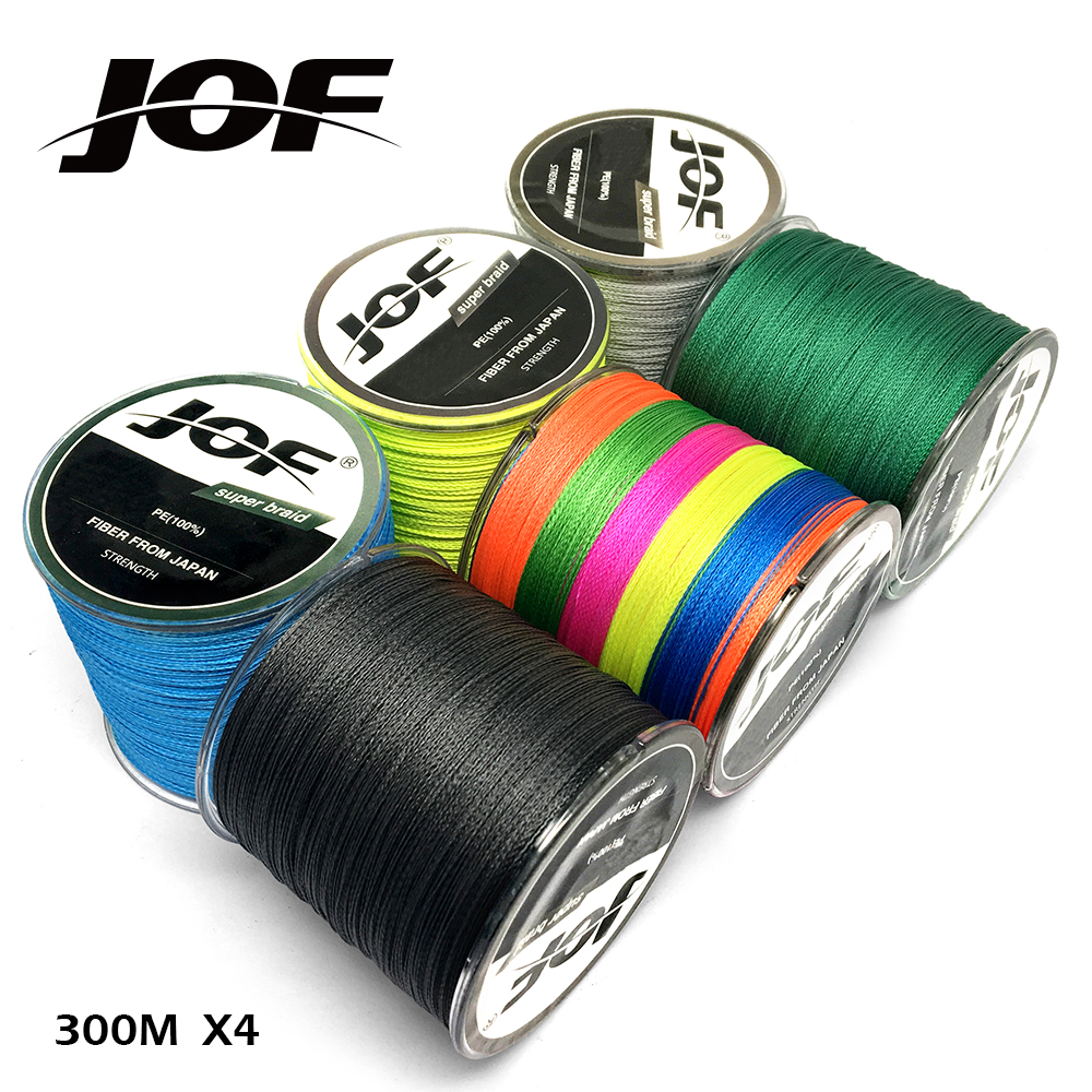 цена на JOF Brand 300M PE Braided Fishing Line 4 Strands 10-80LB Multifilament Fishing Line for Carp Fishing Wire for All Fishing