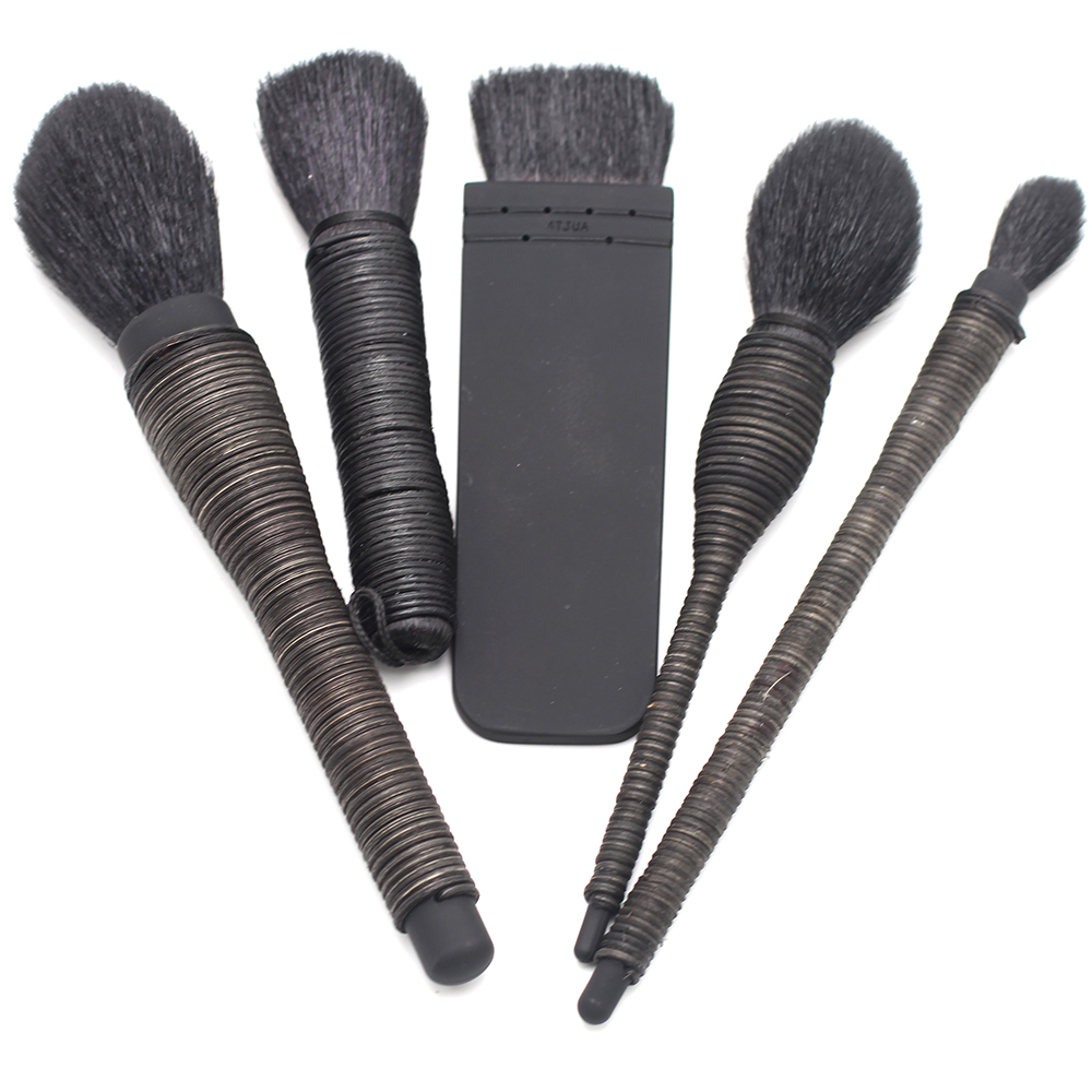 Hand Spun Black Wisteria Handle Goat Hair Special Design 5pcs Contour Eye shadow Powder Blush Sculpt Kabuki Brush Set