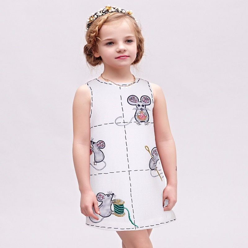 Girls Princess Dress 2017 Brand Children Costume for Kids Party Dresses with Mouse Printed Vestidos Infantis Girls Clothes 2-10Y 2016 brand cute girls clothes summer children dresses plaid casual princess dress girls vestidos 10 old roupas infantis menina