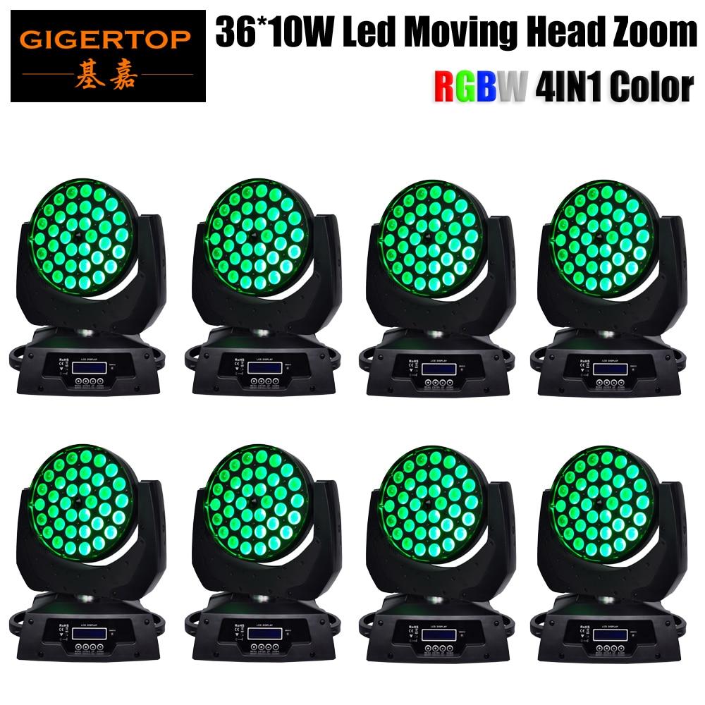 Gigertop 8 Unit 36 x 10W RGBW Zoom Led Moving Head Wash Stage Lighting DMX 14 Channels China Effect DJ Show Light Auto/Sound/DMX