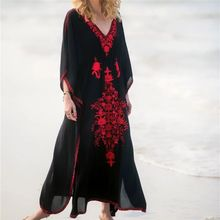 Embroidery Kaftan Beach Tunic Cotton Cover up Saida de Praia Swimsuit Women Bikini cover Pareo Sarong Beachwear