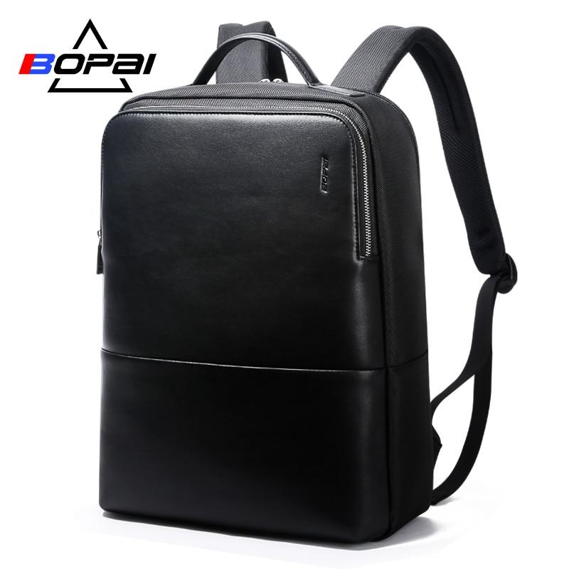 2018 BOPAI Brand waterproof 15 inch laptop backpack men backpacks for teenager girls black leather male school backpack bag men