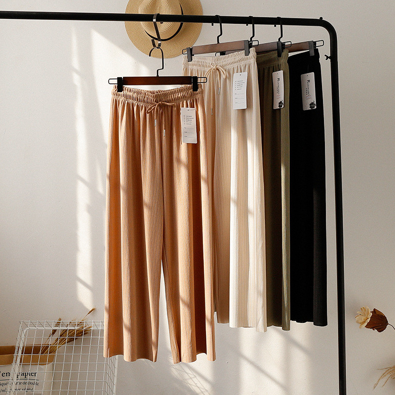 Draped Solid Color Ice Silk Comfortable   Wide     Leg     Pants   2019 Summer Loose Casual Vintage Solid Streetwear Chic Sweet   Pants   Women