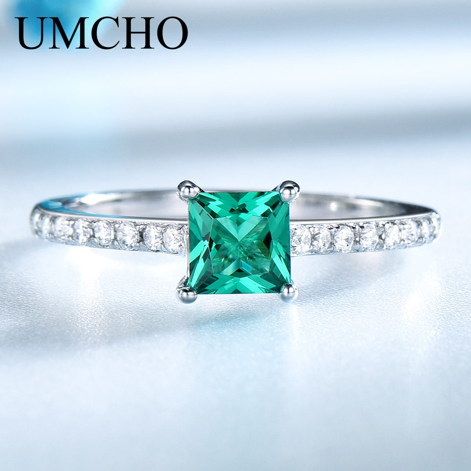 UMCHO Green Nano Emerald Ring Äkta Solid 925 Sterling Silver Fashion - Fina smycken - Foto 2