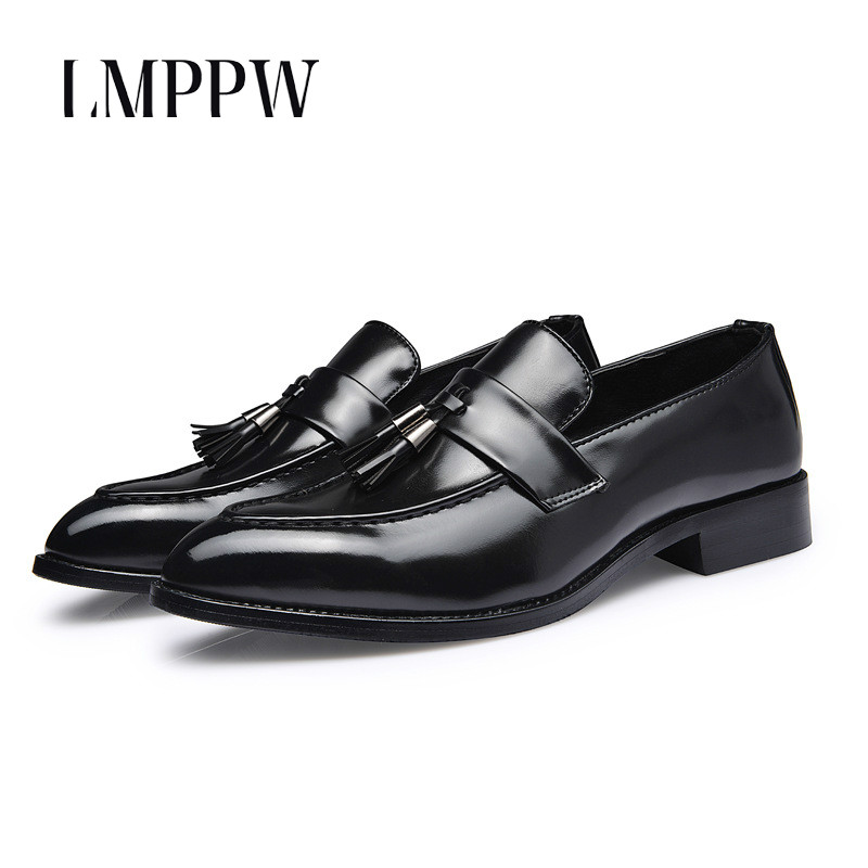 British Style Men's Leather Shoes Slip on Tassels Comfortable Soft Pu Leather Oxfords Shoes High Quality Men Dress Shoes Flats 8 top brand high quality genuine leather casual men shoes cow suede comfortable loafers soft breathable shoes men flats warm