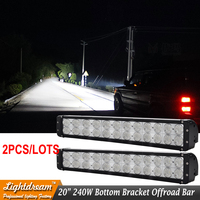 Pair Of 20 Inch 240w 12V 24V 24Leds 10W Offroad ATV Tractor Truck Trailer SUV Off