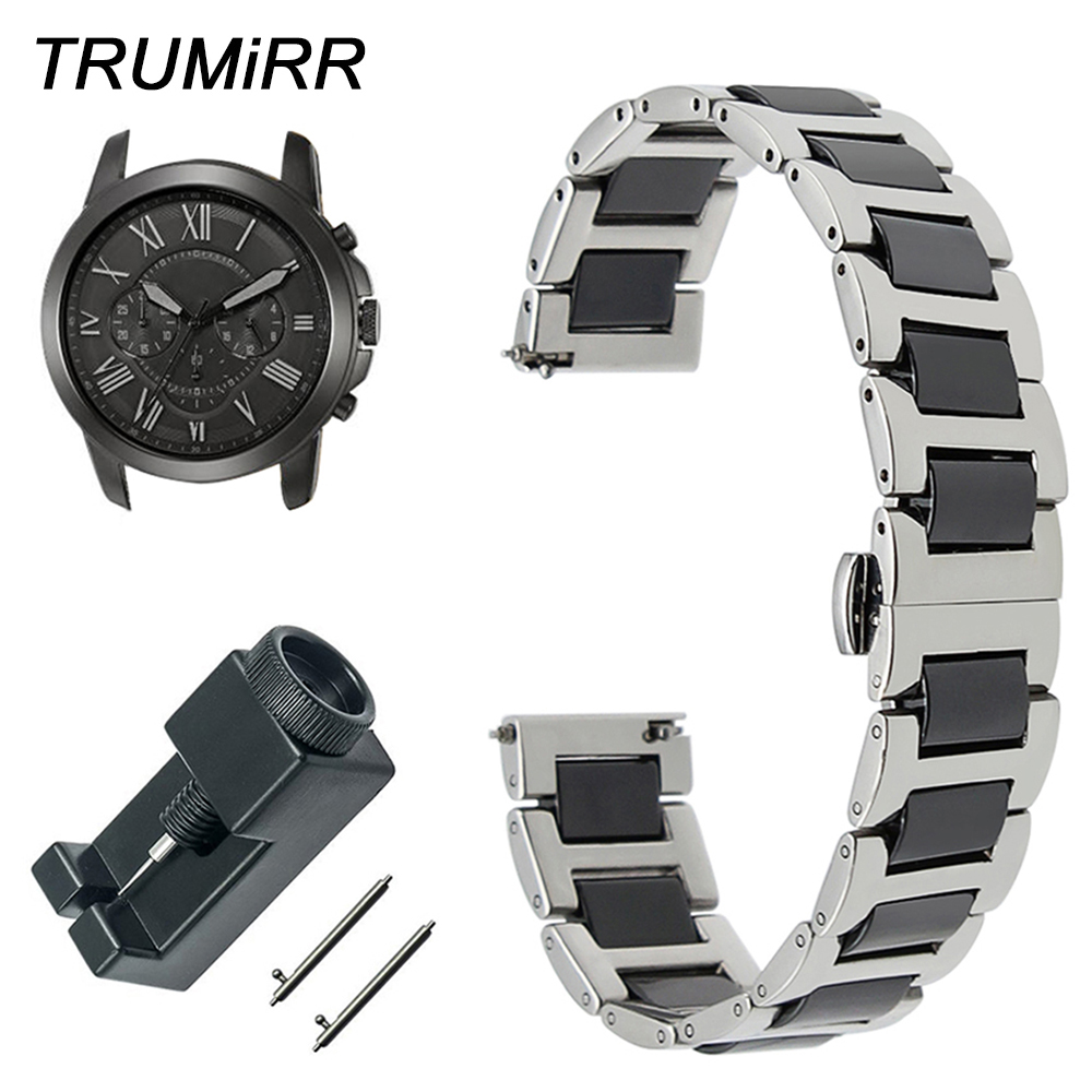 Ceramic + Stainless Steel Watch Band for Fossil Q Tailor Gazer Founder Wander Crewmaster Grant Marshal Quick Release Wrist Strap