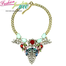 New Luxury Mint Stone Big Crystal Flower Pendant Chunky Statement Choker Collar Necklace Jewelry For Women