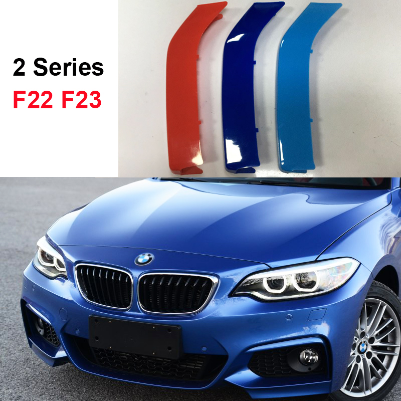 3D color M Styling Front Grille Trim Strips grill Sport Cover Stickers for 2014-2017 BMW 2 series coupe Convertible F22 F23 3 series carbon front bumper racing grill grills for bmw f30 f31 standard sport 12 16 320i 325i 330i 340i non m3 style car cover