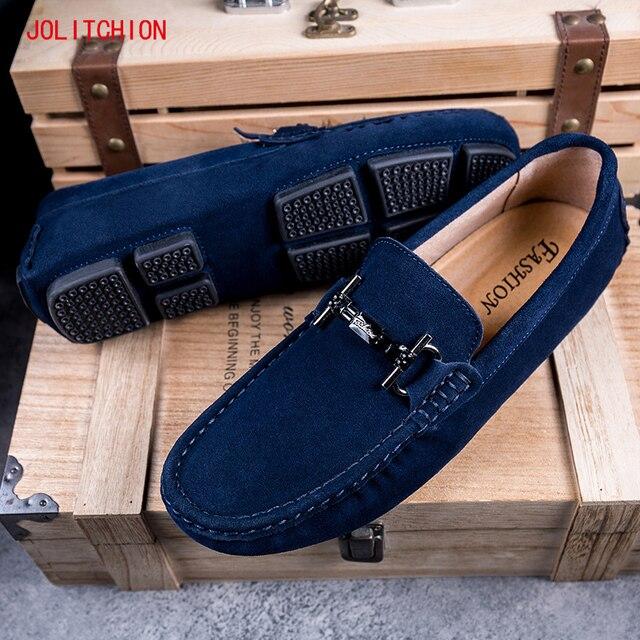 Sıcak satış marka erkek mokasen ayakkabıları gündelik erkek ayakkabısı süet deri Mocassim Masculino nefes tekne ayakkabı üzerinde kayma Chaussures Hommes