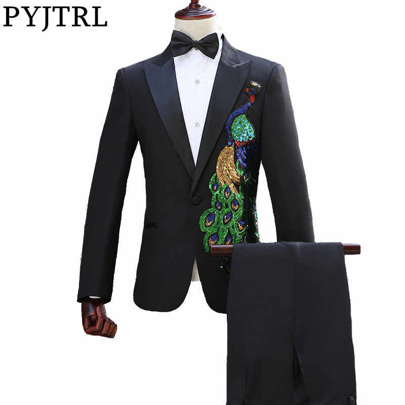 PYJTRL Chinese Style Stage Singers Paillette Peacock Suits Host Clothing Chorus Master Performance Slim Fit Costume
