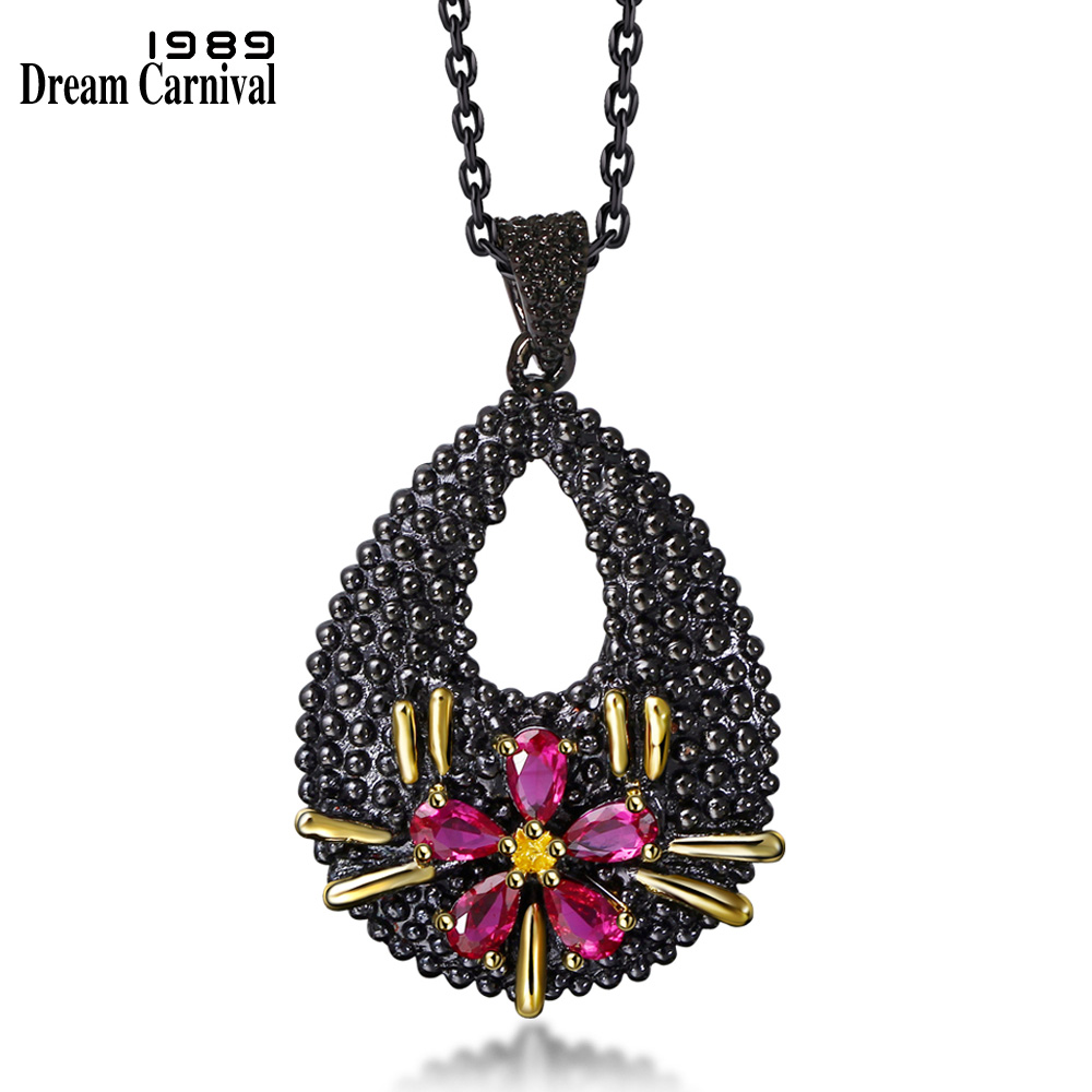 DreamCarnival1989 Black Pendant Necklace Vintage Neo Gothic Hollow Flower CZ Collier Parure Bijoux Femme Drop Shipping WP6485 zofz kids jackets for girls spring coats cotton zipper outerwear printed hooded boys sweatshirts 2 years old baby girl clothes