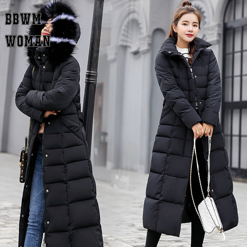 Women Long Fur Collar Hooded Warm Parkas M-3XL Office Lady Thick Winter Clothing Coat Jacket ZO933