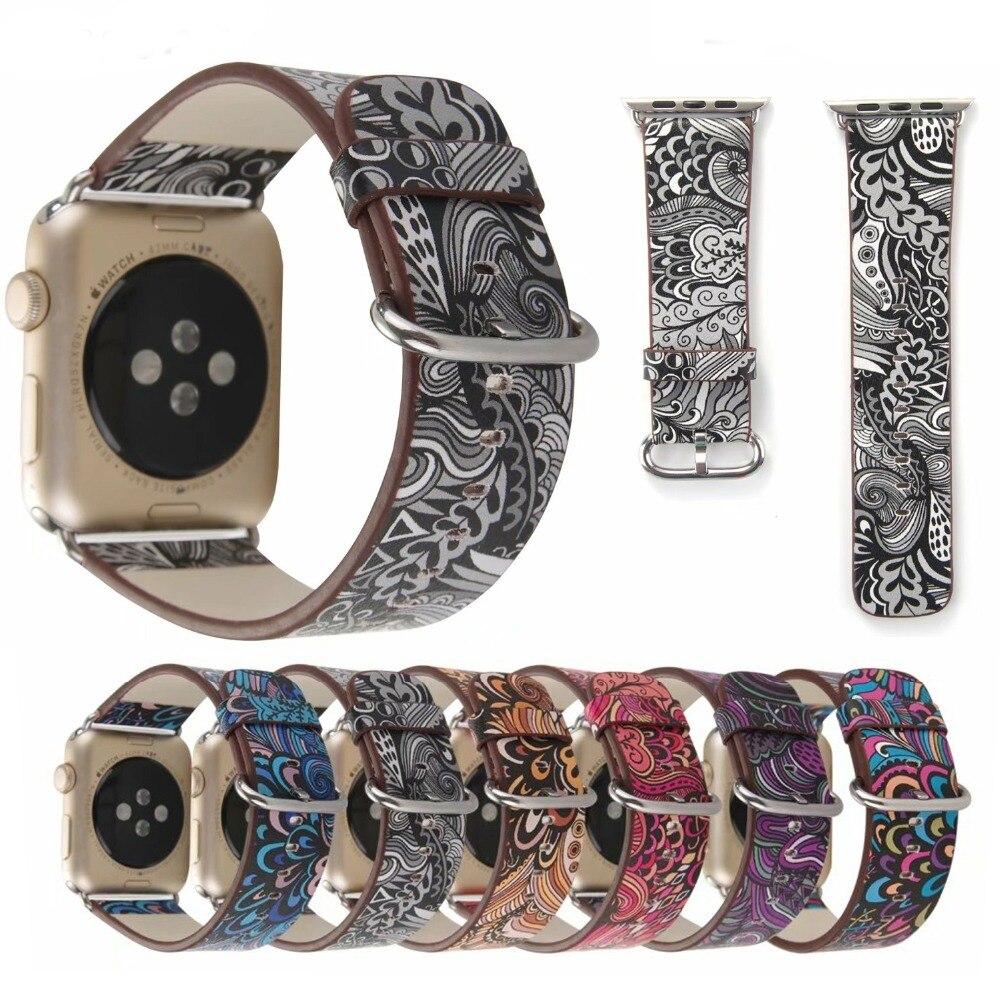 LNOP cinturino In Pelle per apple watch 44/40mm iwatch serie 4/3/2/1 watch band 42/38mm vento Nazionale stampa floreale femminile wristbelt