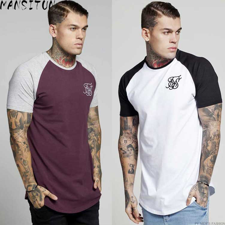 summer Cotton silk siksilk   T     shirt   Kanye West Splicing   T  -  shirts   Short Sleeves Hip Hop   T  -  shirt     shirts   Top Men Longline tees With
