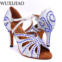 WUXIJIAO Women's latin Dance Shoes Satin rhinestone Party dance shoes Salsa Dance Shoes heel 9cm  Gold/silver color Soft bottom цены онлайн